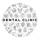 Dental clinic circle infographics Stomatology Dental care thin line art icons. Symbols teeth, dentist, smile, caries, implant, office. Dentistry vector flat Royalty Free Stock Images