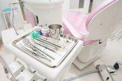 Dental clinic equipment on metal plate. Dental clinic equipment on clean metal plate Royalty Free Stock Photos