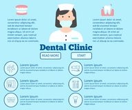 Dental clinic flat internet page. Landing page of site with menu icons with dental clinic services and dentist vector illustration. Isolated on light blue Stock Photo