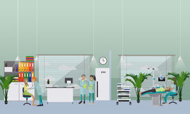 Dental clinic interior concept. Dentist works with patient vector poster Royalty Free Stock Image