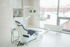 Dental clinic interior with modern dentistry equipment. Dental clinic interior with modern blue dentistry equipment stock photography