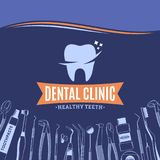 Dental clinic logo and dental instrument icons Stock Photography