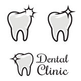 Dental clinic logo template. Human tooth with flare. Design elem Stock Images