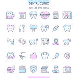 Dental Clinic Outline Icons Set Stock Image