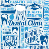Dental clinic seamless pattern or background. Typographic vector dental clinic seamless pattern or background. Tooth and medical instrument icons  for Stock Images