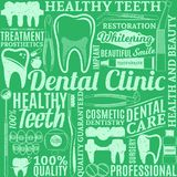 Dental clinic seamless pattern. Typographic vector dental clinic seamless pattern or background. Tooth and medical instrument icons Stock Image