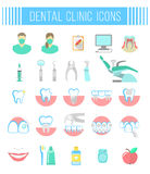 Dental clinic services flat icons on white Royalty Free Stock Photos