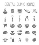Dental clinic services flat silhouettes icons Stock Images