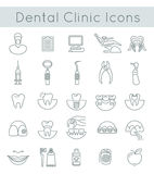 Dental clinic services flat thin line icons Stock Photos