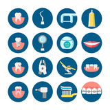 Dental clinic services flat vector icons Stock Images
