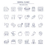 Dental Clinic thin lineIcons Set Royalty Free Stock Photos