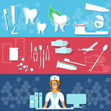 Dental clinic, toothpaste, dental floss, medical care banners Royalty Free Stock Photos