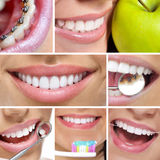 Dental collage. With beautiful female teeth Stock Photography
