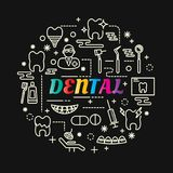 Dental colorful gradient with line icons set. Vector editable stroke Royalty Free Stock Image