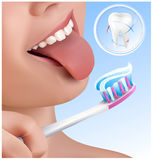 Dental concept. Kid brushing teeth. Royalty Free Stock Images