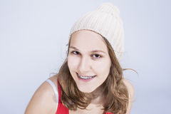 Dental Concepts and Ideas. Caucasian Female Teenager With Teeth Royalty Free Stock Image