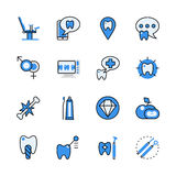Dental dentist tool lineart flat vector icon set app interface Stock Photo