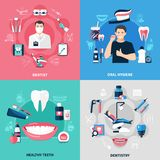 Dental 2x2 Design Concept. Set of oral hygiene healthy teeth dentist and dentistry square compositions flat vector illustration Royalty Free Stock Images