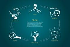 Dental - el dentista, silla del dentista, examina, implante dental, diente limpiado, sistema del concepto del vector de la protec stock de ilustración