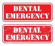 Dental Emergency Stamp. Is an illustration of two version of a stamp, sign or banner that states that there is a dental emergency royalty free illustration