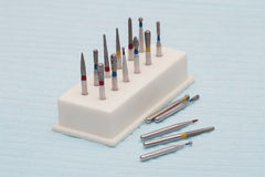 Dental equipment. Dentist drills on the table.Close-up Stock Photos