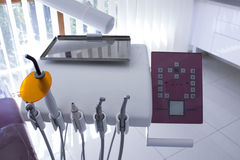 Dental equipment on arm of dental unit. Concept of dental Stock Images