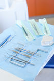 Dental equipment close up on surgery table Stock Images