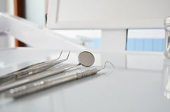 Dental equipment on dental unit Stock Photos