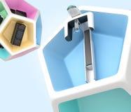 Dental equipment in pentagon cube Stock Images