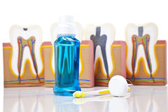 Dental equipment, teeth care and control Royalty Free Stock Photos