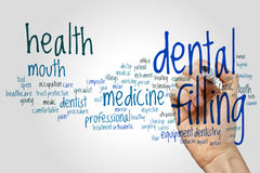 Dental filling word cloud concept on grey background Stock Images