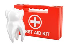 Dental first aid concept, 3D rendering. Isolated on white background Royalty Free Stock Photo