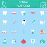 Dental flat icon set, stomatology symbols collection, medicine colorful solid isolated on blue background, eps 10 Royalty Free Stock Photos