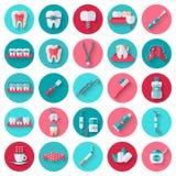 Dental Flat Icons Set in Circles Stock Photos