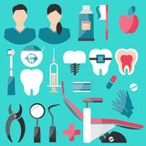 Dental Flat Icons Set on green background. royalty free illustration