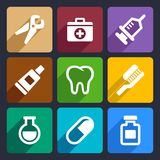 Dental flat icons set 9 Royalty Free Stock Photo