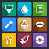 Dental flat icons set 10 Royalty Free Stock Images