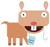 Dental floss. A cartoon gopher using a floss to clean it's teeth Royalty Free Stock Images
