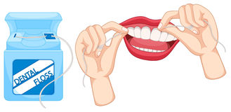 Dental floss and how to use it. Illustration Royalty Free Stock Photo