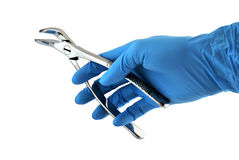 Dental forceps in hand Royalty Free Stock Photos
