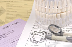 Dental Forms. Photo of Dental Forms and Various Dental Related Items royalty free stock photos