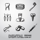 Dental handdrawn icons set. vector Stock Photos