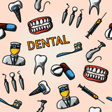 Dental handdrawn pattern with - tooth, jaw Stock Photo