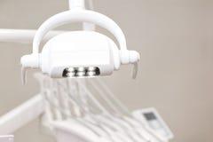 Dental handle lamp closeup, nobody. Dentistry equipment. Dental handle lamp closeup, nobody. Dentistry equipment Stock Image