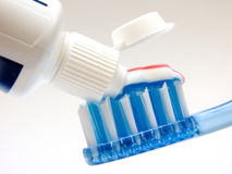Dental health. The tooth-brush and the toothpaste royalty free stock photography