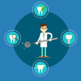 Dental health banner with male dentist vector illustration