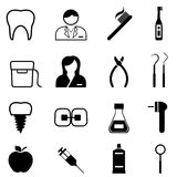 Dental health and dentist icons. Dental health, dentist and dentistry icon set Stock Photography