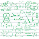 Dental health doodles icons set. Hand drawn sketch with teeth, toothpaste toothbrush dentist mouth wash and floss. vector illustra Royalty Free Stock Image