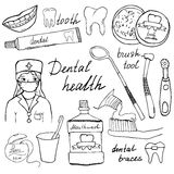 Dental health doodles icons set. Hand drawn sketch with teeth, toothpaste toothbrush dentist mouth wash and floss. vector illustra Stock Photo