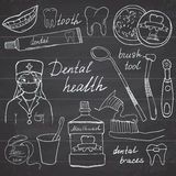 Dental health doodles icons set. Hand drawn sketch with teeth, toothpaste toothbrush dentist mouth wash and floss. vector illustra Royalty Free Stock Photography